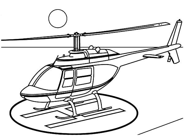 Helicopter Helicopter Landing On Helipad Coloring Pages