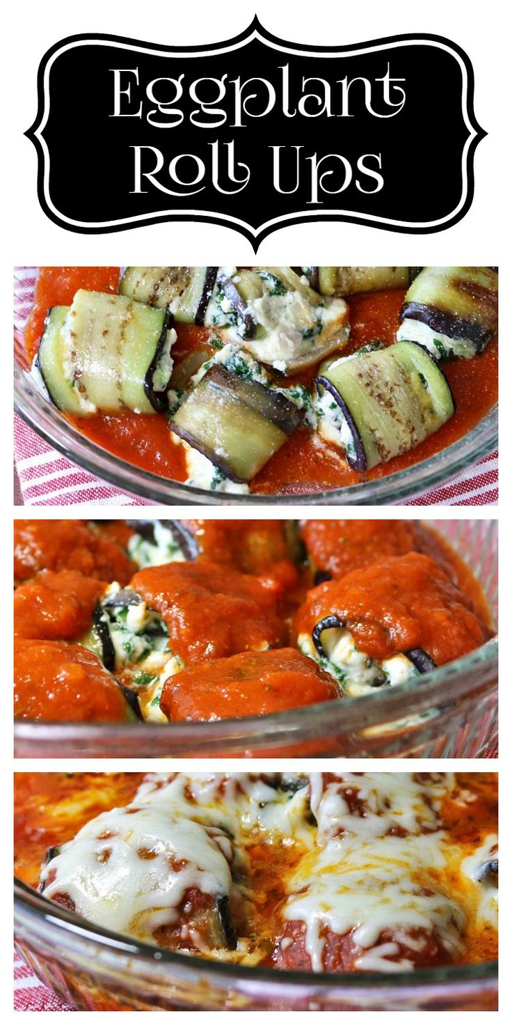 Eggplant Roll Ups. These look delicious and easy to make!