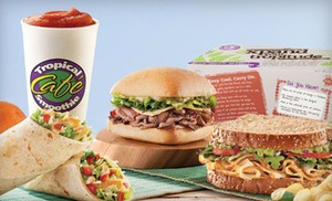 Groupon - Combo Meal with Sandwiches, Sides, and Smoothies for Two or Four at Tropical Smoothie Cafe (49% Off) in Glen Mills (Tropical Smoothie). Groupon deal price: $10.00