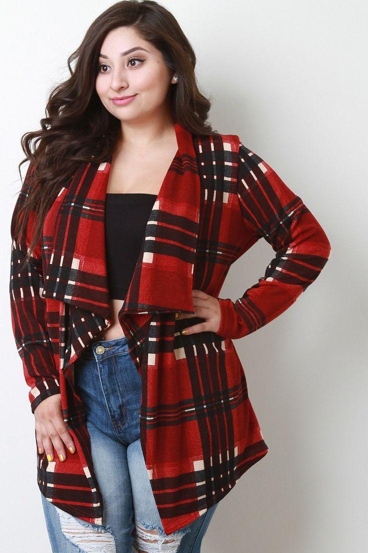 Plaid Soft Knit Longline Cardigan, C$54.99