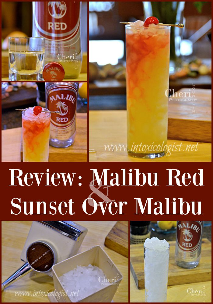 Sunset Over Malibu is a tropical, fruit forward drink with balanced sweetness using Malibu Red. It takes its cue from the Tequila Sunrise cocktail.