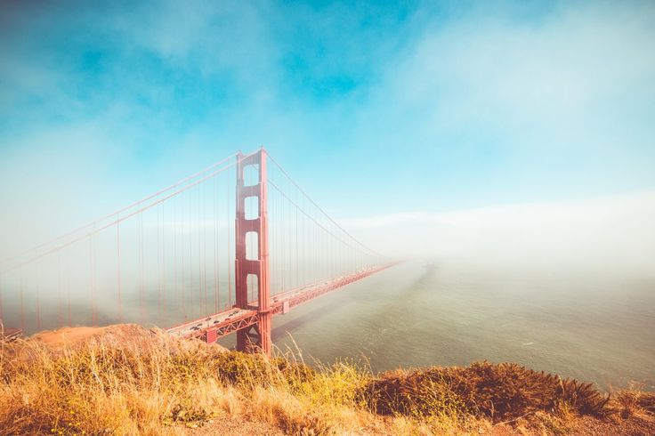 Free Image: Colorful Golden Gate Bridge in Foggy But Sunny Weather   Download more on picjumbo.com!