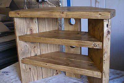 Rustic Corner Tv Stand solid wood unit cabinet plank sleeper oiled waxed in Home, Furniture & DIY, Furniture, TV & Entertainment Stands | eBay