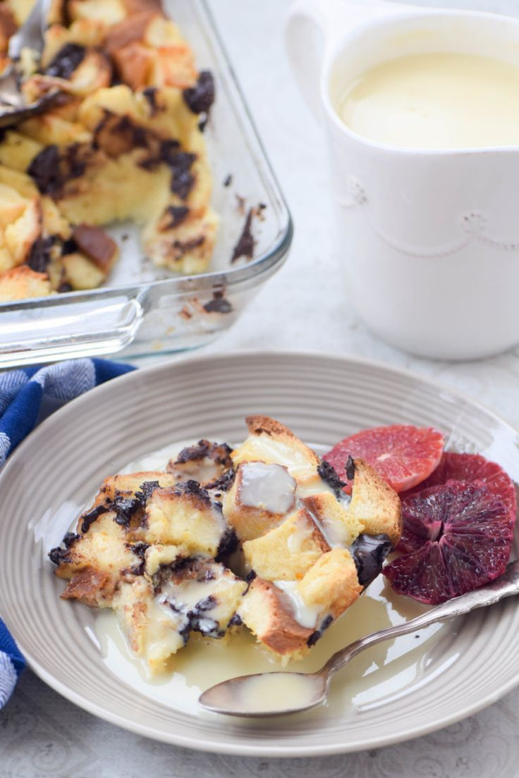 Chocolate orange challah bread pudding served with an orange creme anglaise is an indulgent yet easy make-ahead dessert.