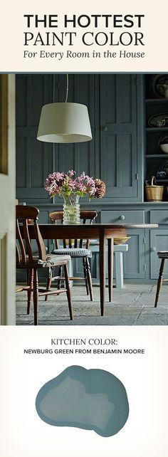 Kitchen painted in Newburg Green by Benjamin Moore