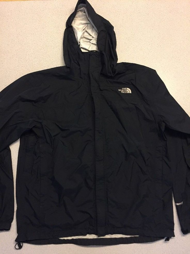 The North Face HyVent Mens Parka Jacket Mens XL Black Rain Coat Hooded Ll25 | eBay