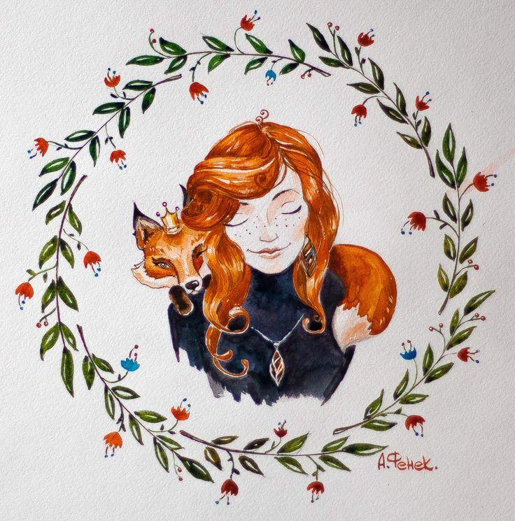#watercolor #sketch #fox #art #topcreator  #графика #рисунок #иллюстрация #лисичка #graphics #mood #girl #red