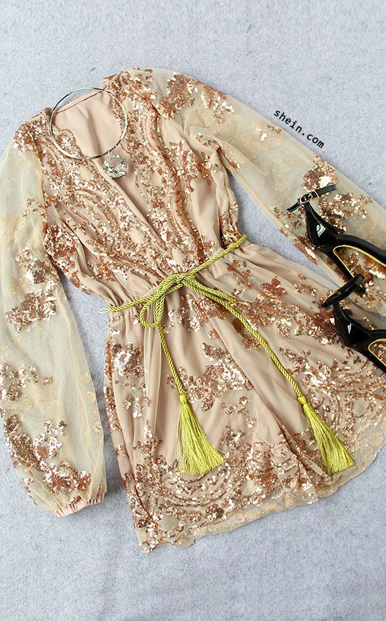 Champagne Deep V Neck Sequined Romper With Belt
