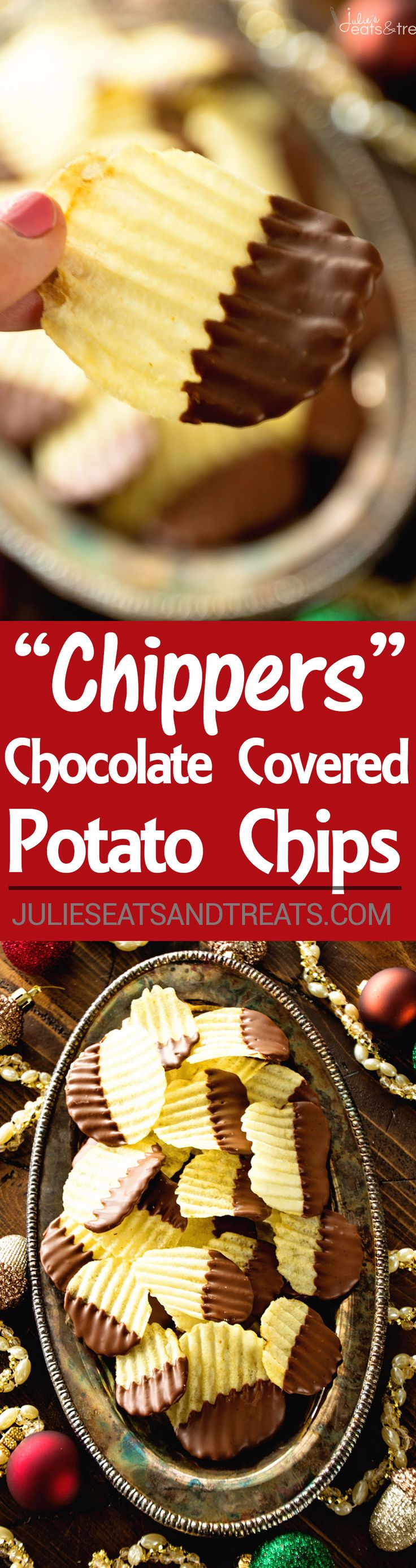 Chippers Recipe ~ These Chocolate Covered Potato Chips are the Perfect Sweet & Salty Combo! Quick, Easy Holiday Recipe Great for Christmas!