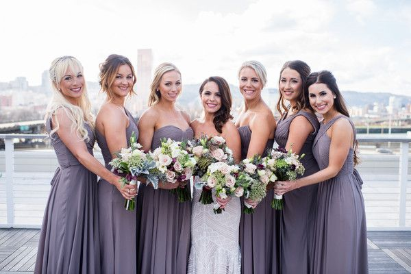 Purple bridesmaids dresses - floor-length, purple gowns with mix-and-match necklines {Powers Photography Studios}