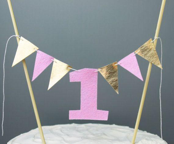 Roze en gouden eerste verjaardag taart Topper 1 door SoSimpleSoSweet