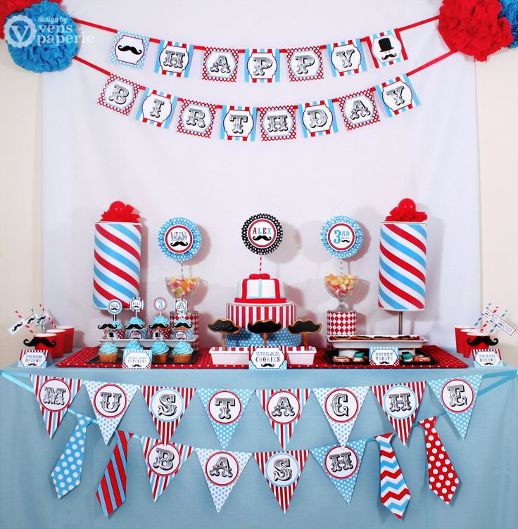 Little Man Mustache Birthday Party Package by venspaperie on Etsy, $35.00