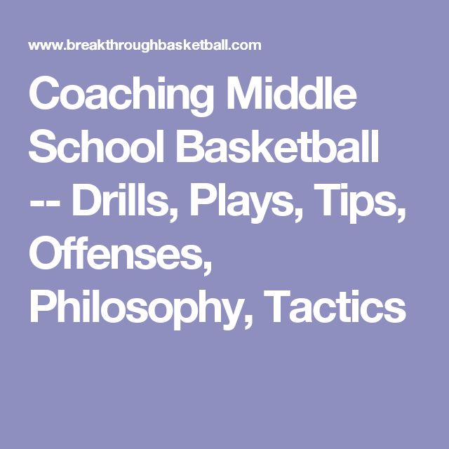 Coaching Middle School Basketball -- Drills, Plays, Tips, Offenses, Philosophy, Tactics