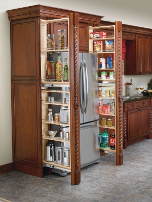 Pull out pantry organizer for space between refrigerator and wall.