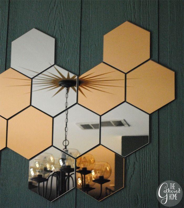 Diy sunburst ceiling medallion ikea honefoss mirrors for Miroir hexagonal cuivre