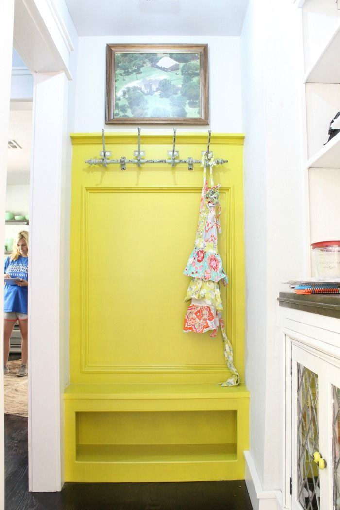 Holly's Farmhouse Tour - Refunk My Junk - Bright Yellow Hallway Mud Bench
