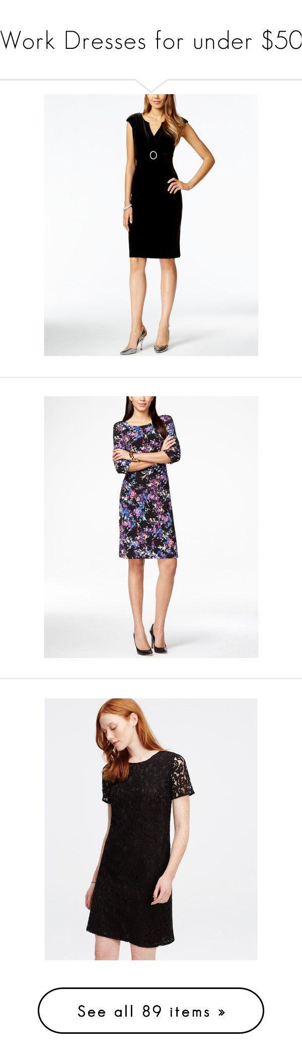 """""""Work Dresses for under $50"""" by queenieff ❤ liked on Polyvore featuring dresses, black, cocktail party dress, going out dresses, petite party dresses, sheath cocktail dress, buckle dresses, blk multi, white floral print dress and petite floral dress"""