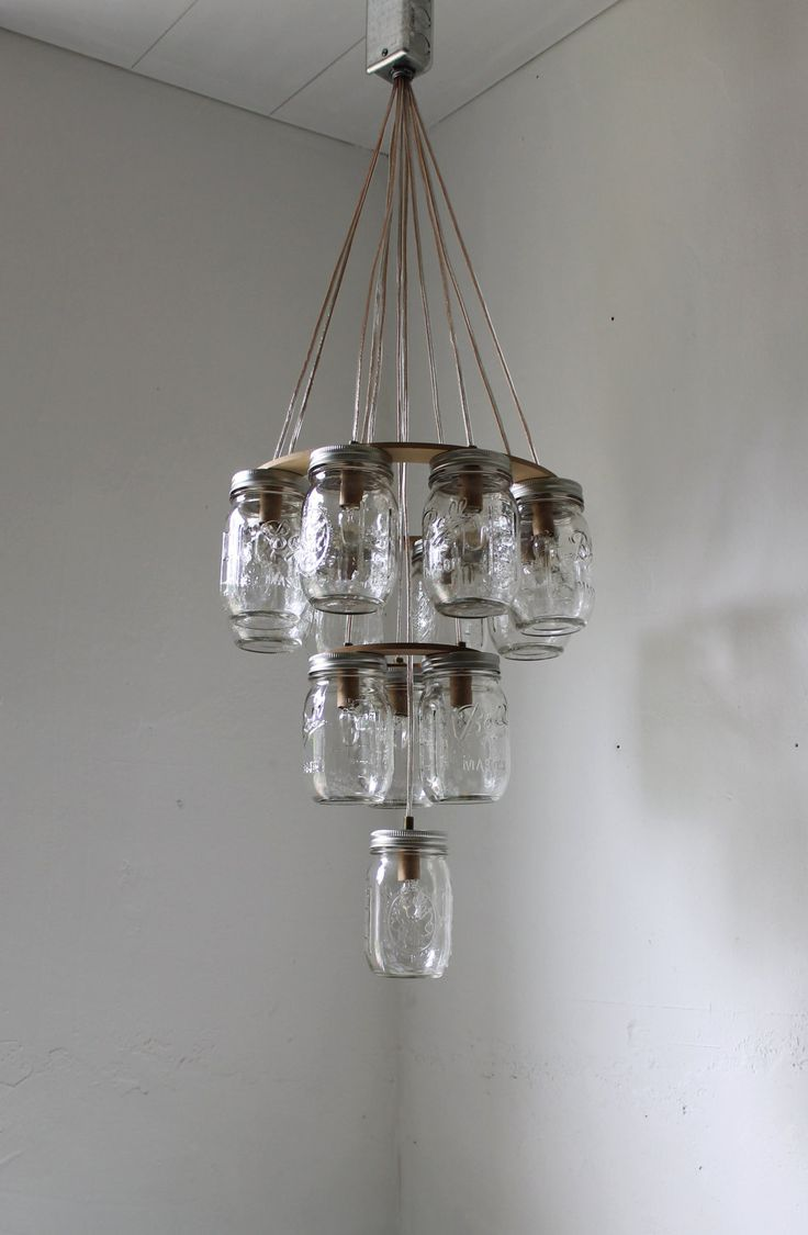 3 Tier Mason Jar Chandelier - Mason Jar Lighting - Upside Down Wedding Cake - Handcrafted ...
