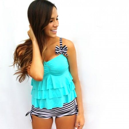 Love this... if I lose weight I just might get this!!!!!    Monokinisuits.com | Turquoise and Black & White Stripes Tankini