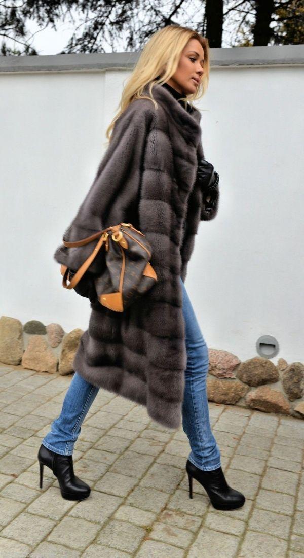 MINK FURS - milano graphite royal saga mink fur coat - furs outlet