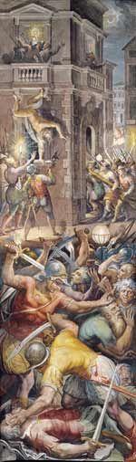 """Le massacre de la St-Barthelemy par Giorgio Vasari, 1572-1573- Henri de Navarre ménageait la cour . Après la paix de Poitiers qu'il condamne, Agrippa quitte une 1° fois son maître (1577). Grièvement blessé à Casteljaloux, il se retire pendant 2 ans sur ses terres aux Landes-Guinemer dans le Blaisois où il se met à écrire. Selon la légende qu'il a lui-même forgé bien plus tard, c'est à Casteljaloux que lui seraient venues les 1° """"clauses"""" de son poème sur les guerres de religion, Les…"""