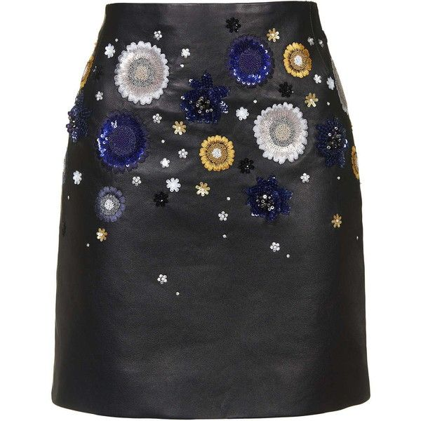 **Linard Mini Skirt By Unique ($1,100) ❤ liked on Polyvore featuring skirts, mini skirts, topshop, black, sequin skirt, short black skirt, short black mini skirt, short skirts and leather miniskirt