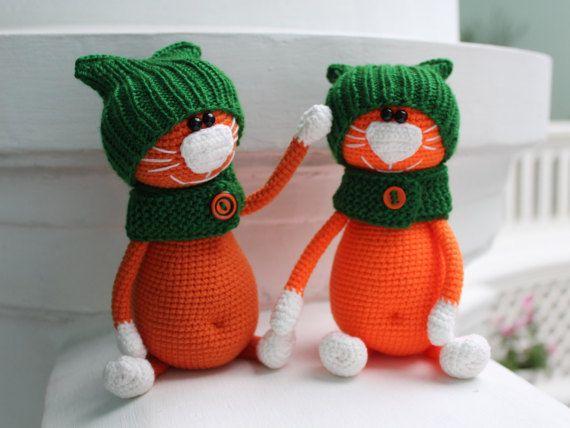 Orange Cat Crochet cat toy Cute Miniature cat Amigurumi Pet