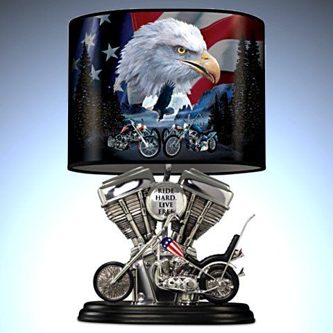 Handcrafted Spirit Of The Road Lamp With Twin Engine Lamp Base. Motorcycle Lamp.
