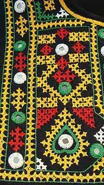 Black Hippie Boho Tent Dress in Sindhi Stitch