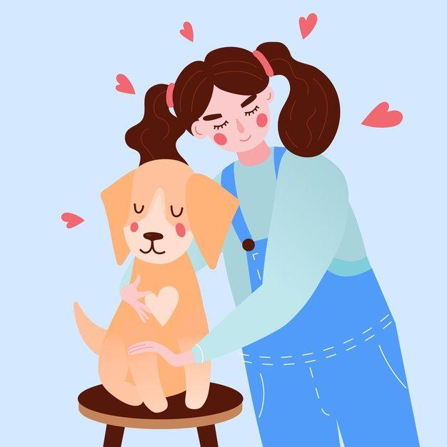 Adopta Un Concepto De Mascota Con Nina Y Free Vector Freepik Freevector Amor Lindo Animales Ilustracion Perros Para Ninos Mascotas Perros