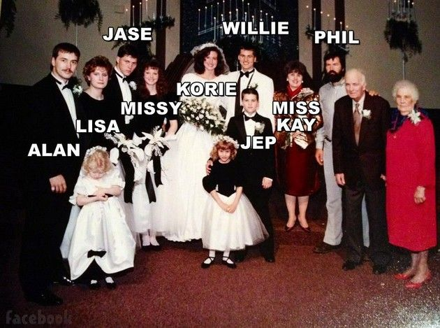 The crew of duck dynasty at Willie and Korie's wedding. Love Phil and Jep's pic