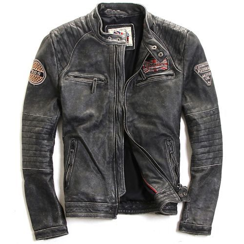 Men Charcoal Gray Waxed Leather Slim Fit Motorcycle Bomber Jacket SKU-116032