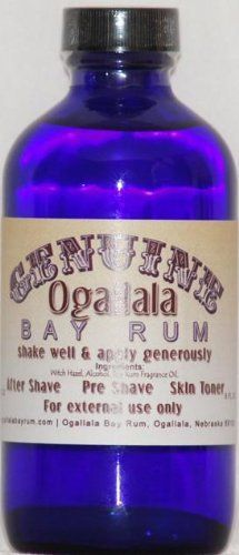 4 oz Genuine Ogallala Bay Rum Regular. Old-time looking bottle and label. by Ogallala Bay Rum. $14.95. Genuine Ogallala Bay Rum Products. Comes in Cobalt Blue Bottle with Special Card. 4 oz Genuine Ogallala Bay Aftershave. Old-time looking bottle and label. The bottle itself would make a great bathroom decoration...but you'll definitely want to use the product too! Genuine Ogallala Bay Rum products have a bold, refreshing fragrance...like you remember from years ago i...