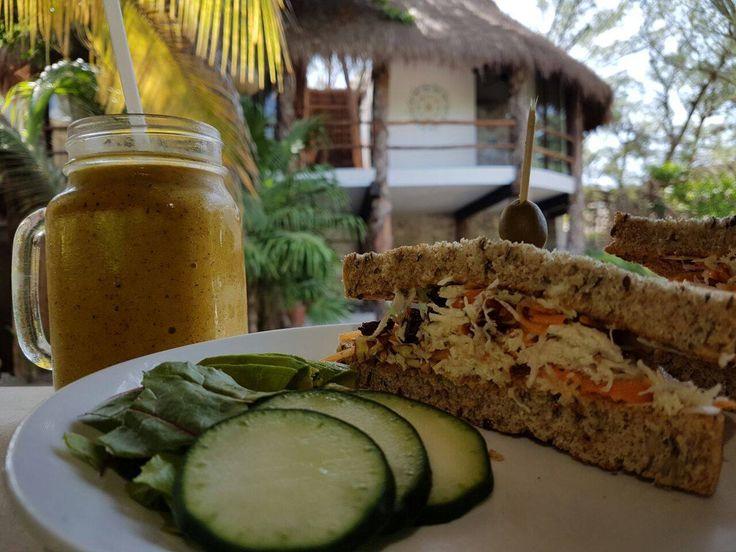 Chicken sandwich:  Cabbage + pickled carrot + chicken + raisins + walnut + chili + orange mayo Homemade bread