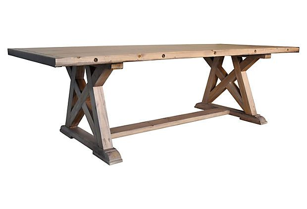 One Kings Lane Designer Style X Base Dining Table Natural