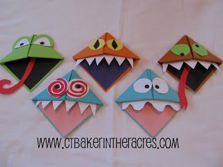 ctbaker in the acres: 14 Lovely Days: Day 2 book monster bookmarks