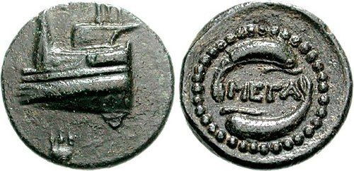 MEGARIS, Megara. Circa 350-275 BC. Prow of galley left, tripod on upper deck; tripod below (only partially visible) / Two dolphins clockwise around ethnic.