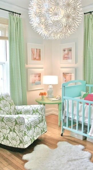 tropical blue and green baby nursery #decor #infant