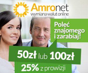 Amronet.pl Warunkiem otrzymania 50zł, które będą dodane do Twojego konta w Amronet.pl jest, aby Twój znajomy w okresie 3 miesięcy dokonał wymian na kwotę 5 000zł. Aby otrzymać 100zł Twój znajomy musi dokonać w ciągu 3 miesięcy wymian waluty na kwotę większą niż 50 000zł. Zawsze otrzymasz 25% z prowizji za każdą dokonaną przez niego transakcję.  https://www.konto.amronet.pl/zarabianie-za-polecanie