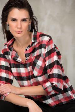 Sateen Kadın Siyah-Kırmızı Büyük Ekose Kısa Gömlek 486-Sateen106-7190 https://modasto.com/sateen/kadin-ust-giyim-gomlek-bluz/br5033ct4