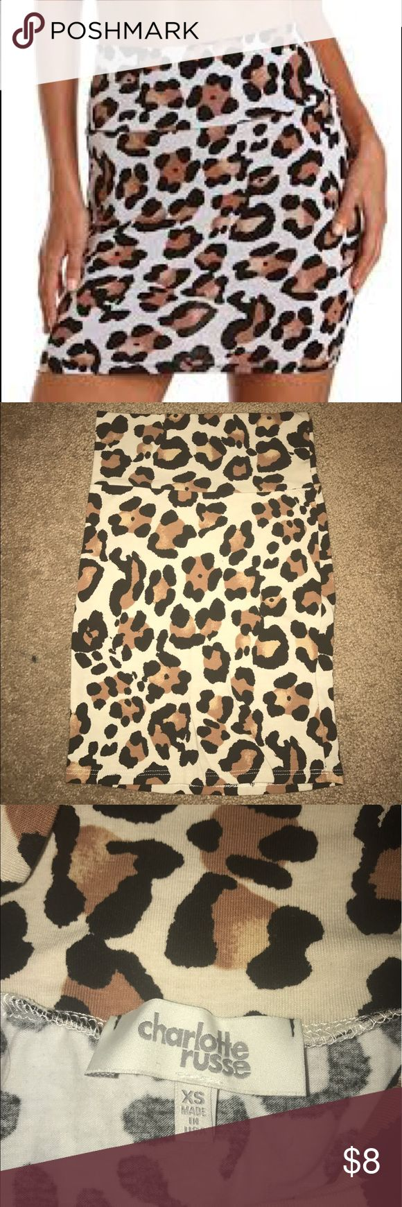 CR Cheetah Body Con Skirt EUC, only worn once. Charlotte Russe Skirts Mini
