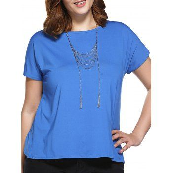 Stylish Women's Slimming Round Neck Tulip Plus Size Top (SAPPHIRE BLUE,XL) in Tops | DressLily.com