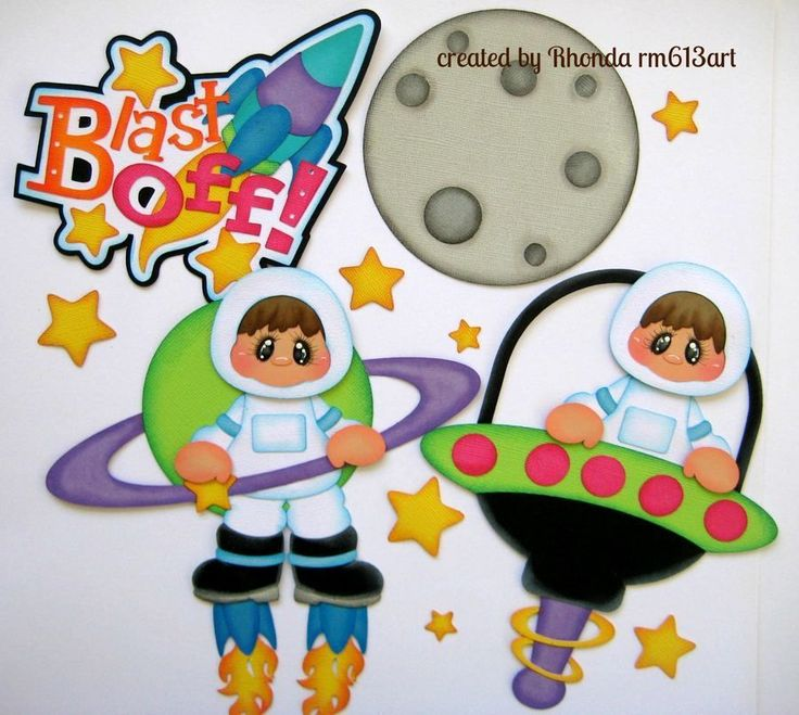Space Blast Off Boy paper piecing set  for scrapbook pages - Rhonda rm613art