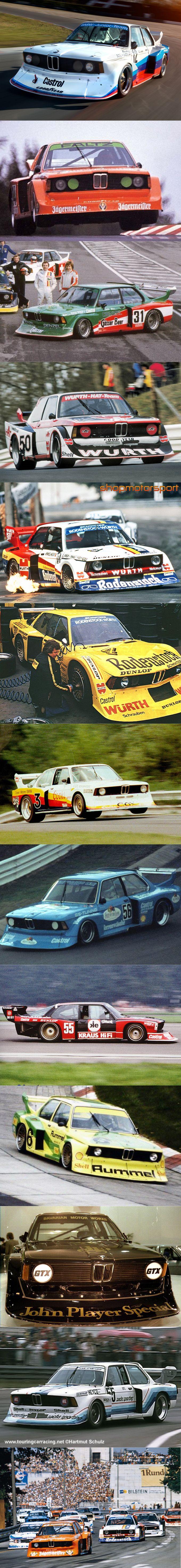 1977 BMW 320i Turbo Group 5 liveries / Motorsport / Jägermeister / Gösser Beer / Würth / Rodenstock (2x) / Coors / Fruit of the Loom / Kraus Hifi / Rummel / JPS / Sachs