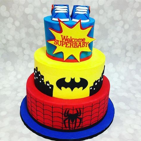 Here Is A Throwback Of An Adorable Superhero Themed Baby. Baby Shower Cakes3d  ...