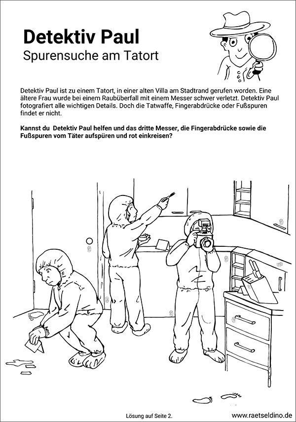 Spurensuche Am Tatort Detektivspiel Fur Kinder Tatort Schulkinder Taten