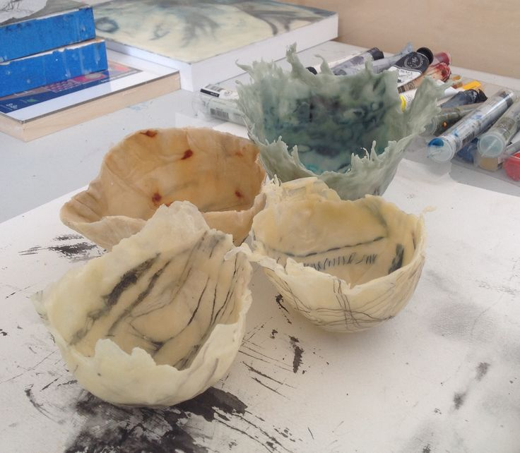 Encaustic experiments for new work. Beeswax and damar resin bowls. maggieayres.co.uk