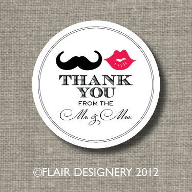 Mustache And Lips Thank You Wedding Stickers Set Of 80
