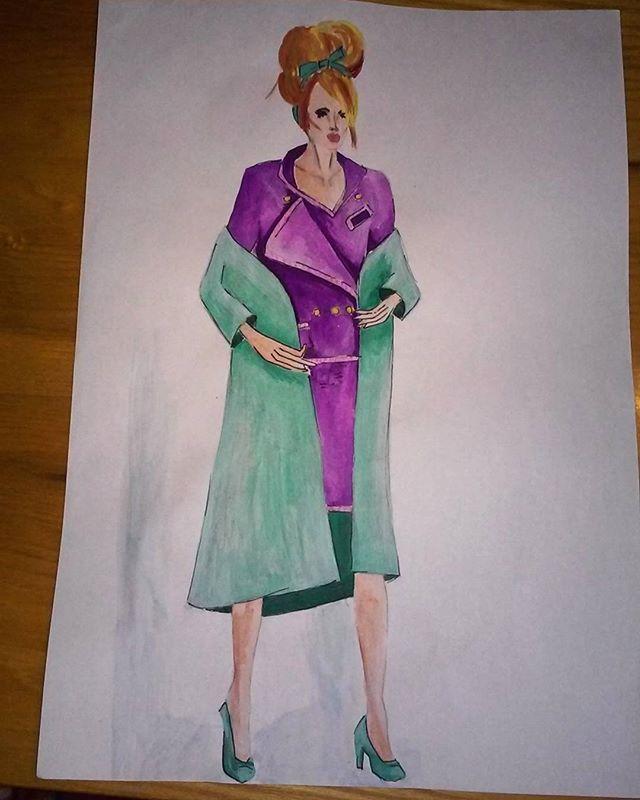 #fashion #paint #painting #illustration #illutrate #fashionillustration #moda #mode #chanelsuit #purple #turquoise #woman #design #designing #designer #fashiondesigner #fashiondesign #fashiondesigning #suit #style #stylish #stylist