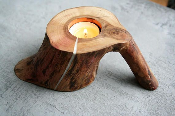 Candle holder wood with handle rustic tea light log holder Decorative tealight Mothers Day gift Easter Wedding decor woodcraft cozy home
